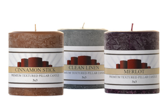 Textured 3 x 3 Scented Pillar Candles