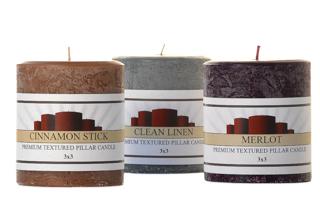Textured 3 x 3 Scented Pillar Candles