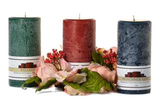 Textured 3 x 6 Scented Pillar Candles