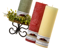 Textured 3 x 9 Scented Pillar Candles