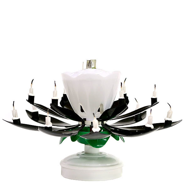 Black Musical Flower Birthday Candles Lotus Flower Spinning Candles