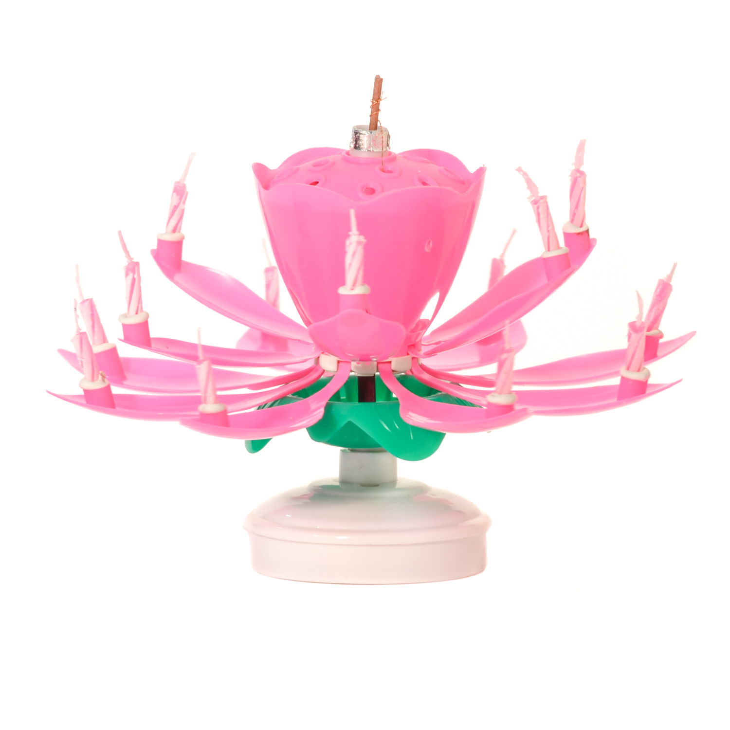 Pink Musical Flower Birthday Candles Lotus Flower Spinning Candles