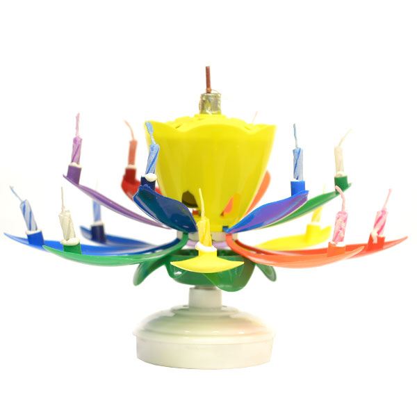 Rainbow Yellow Bud Musical Flower Birthday Candles Lotus Flower