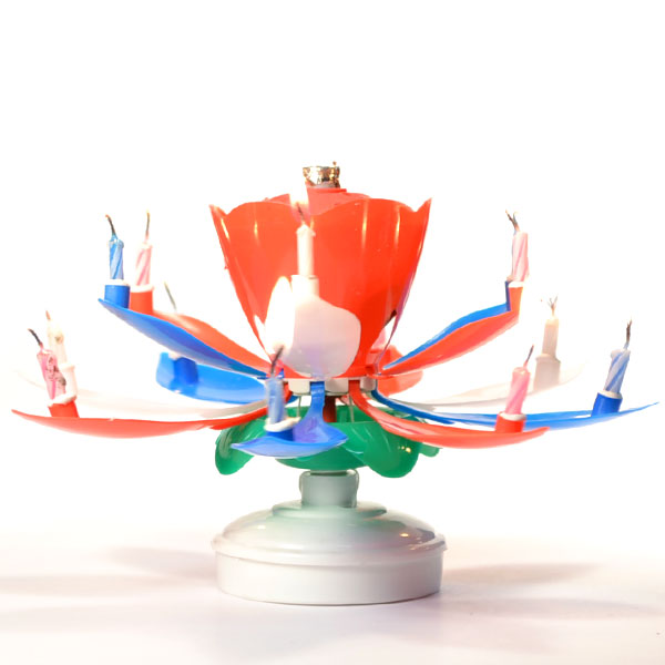 Red White Blue Musical Flower Birthday Candles Lotus Flower Spinning
