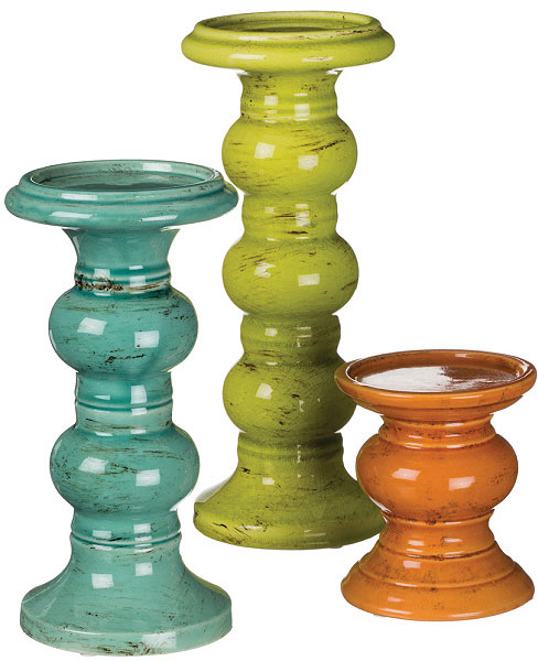 3 Piece Pillar Holder Set Assorted Colors