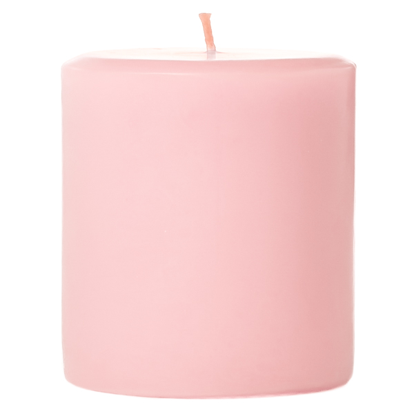 3 x 3 Pink Hibiscus Pillar Candles