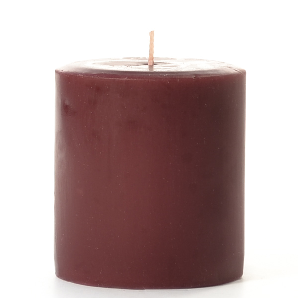 4 x 4 Leather Pipe and Woods Pillar Candles