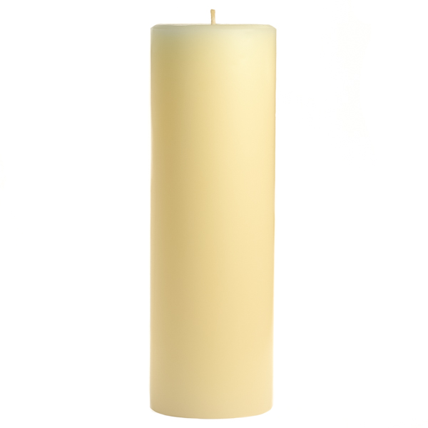 3 x 9 Unscented Ivory Pillar Candles