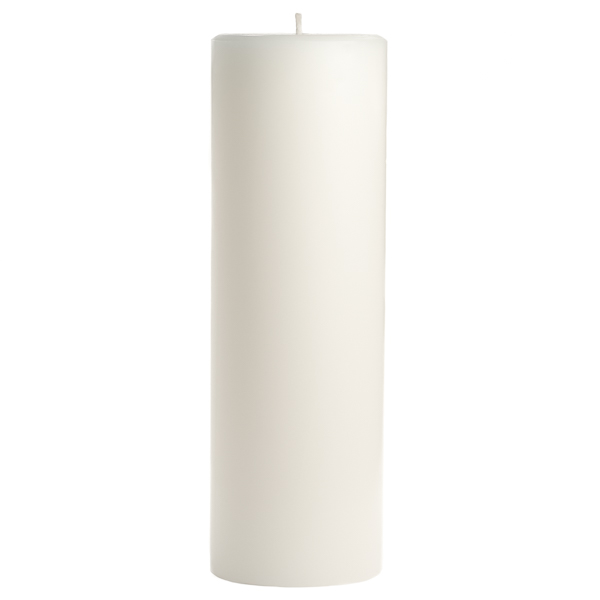 3 x 9 Unscented White Pillar Candles