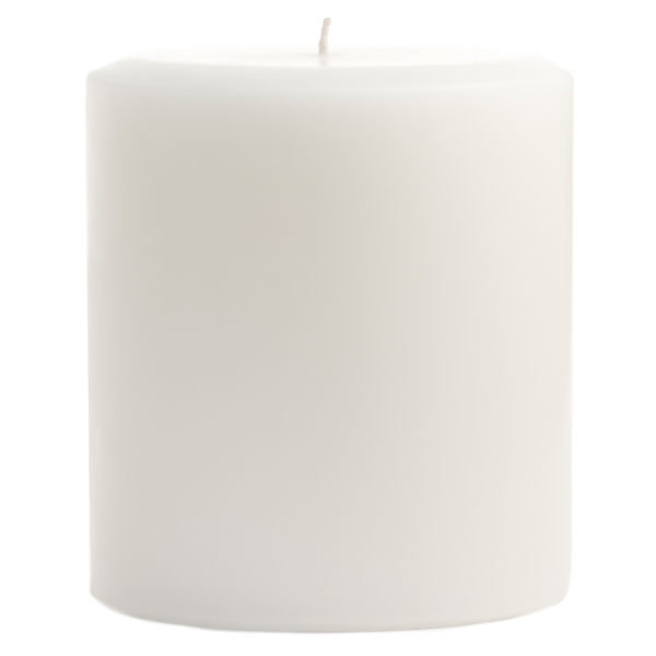 4 x 4 Unscented White Pillar Candles