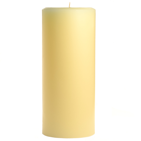 4 x 9 Unscented Ivory Pillar Candles
