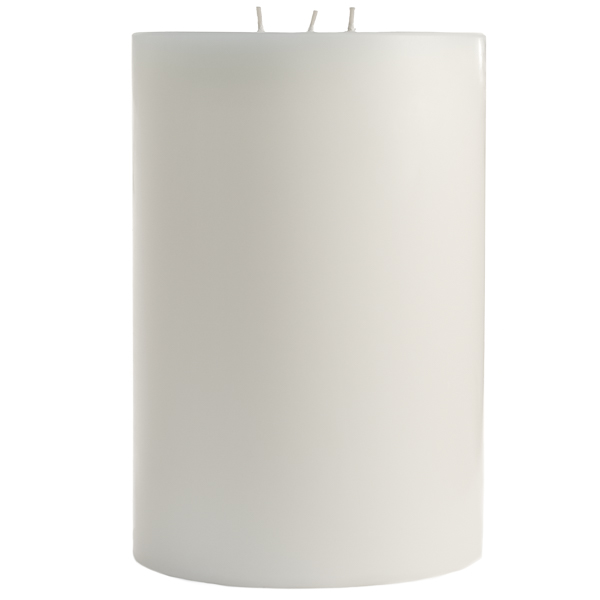 6 x 9 Unscented White Pillar Candles