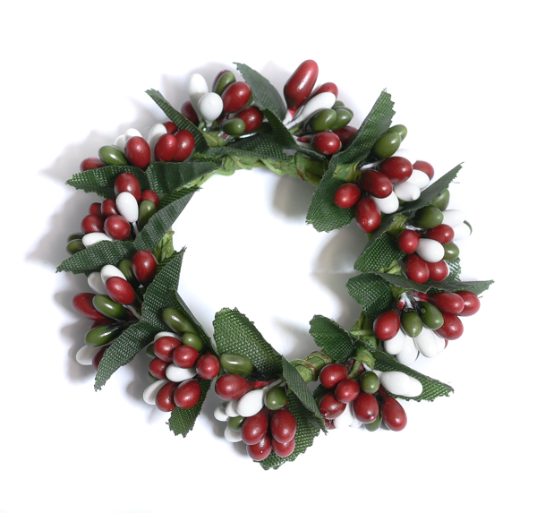 Rice Berry 1.5 Inch Candle Ring White Red Green