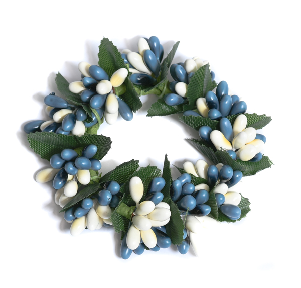Rice Berry 1.5 Inch Candle Ring Blue Cream