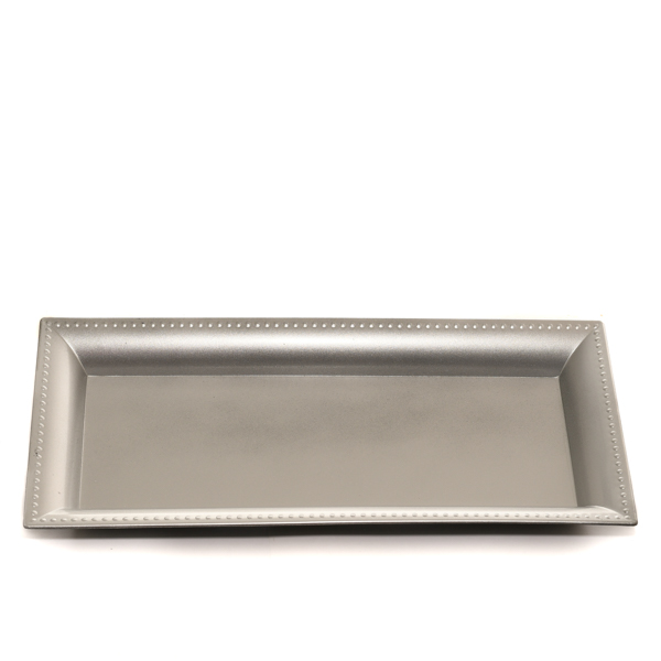 Plastic Rectangle Tray Silver