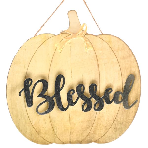 Hanging Pumpkin Sign Cream Blessed