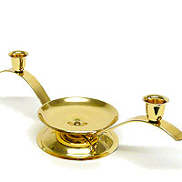Arched Taper And Unity Candle Holder Brass Finish