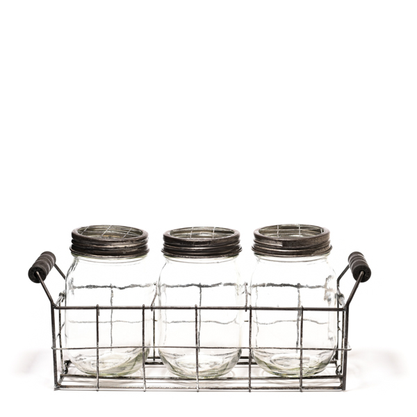 3 Glass Mason Jars In Wire Basket
