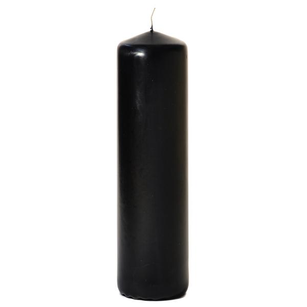 Black 3 x 11 Unscented Pillar Candles
