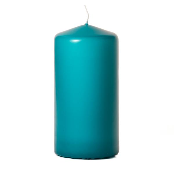 Mediterranean blue 3 x 6 Unscented Pillar Candles