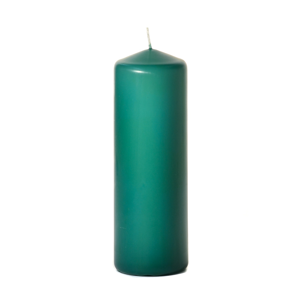 Forest green 3 x 9 Unscented Pillar Candles