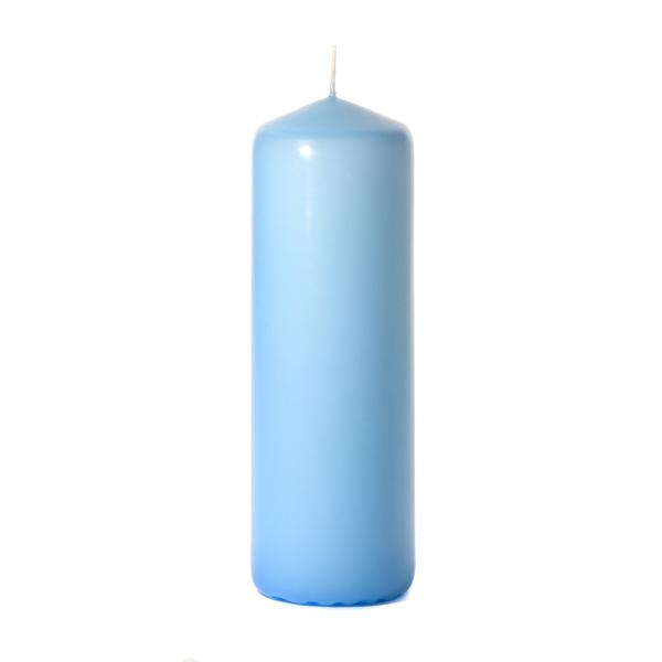 Light blue 3 x 9 Unscented Pillar Candles