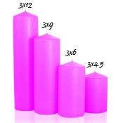 Hot pink 3 x 6 Unscented Pillar Candles