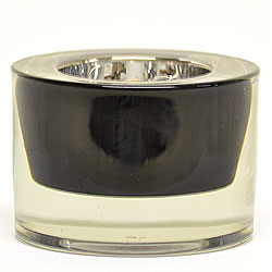 3.25 Inch Round Glass Tea Light Holder Black