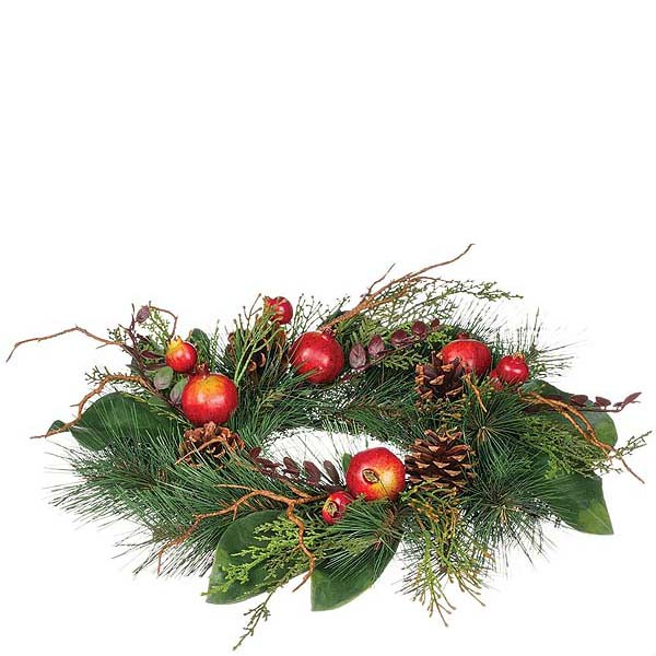 Pine and Pomegranate 6.5 Inch Candle Ring