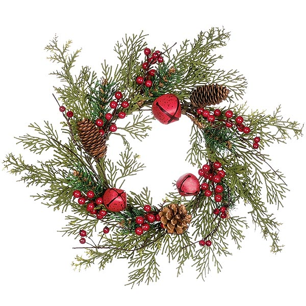 pine bell berry candle rings 6 inch - Decorative Christmas Candle Rings