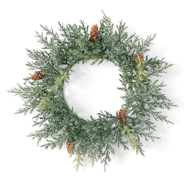 Frosted Arborvitae 6.5 Inch Candle Ring