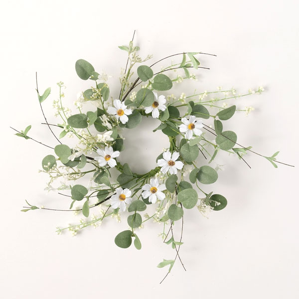 Daisy Eucalyptus Candle Ring 4.5 Inch