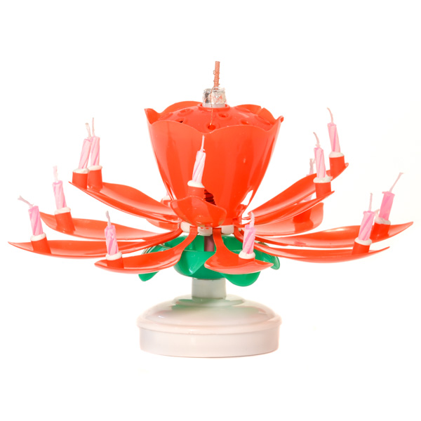 Red Musical Flower Birthday Candles