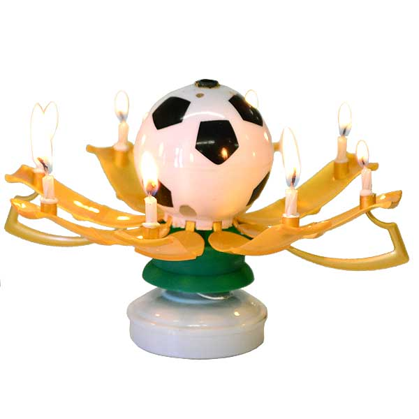Soccer Ball Musical Birthday Candle Soccer Trophy Candle