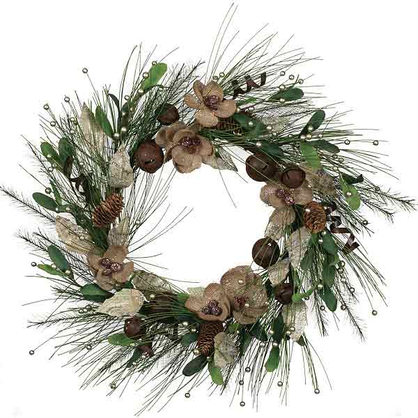 Flower Pine Bell Wreath 22 Inch