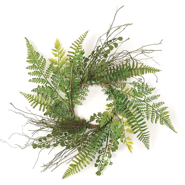 Mixed Fern Candle Ring 4.5 Inch