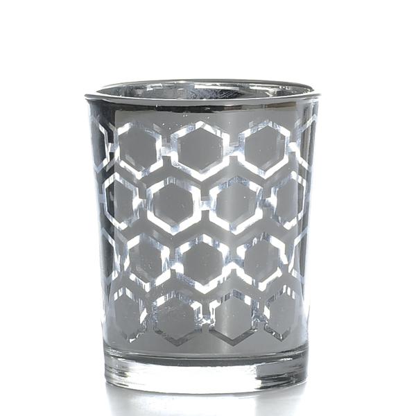 Metallic Silver Hexagonal Votive Cup
