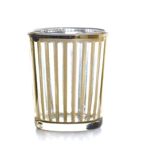 Metallic Gold Stripe Votive Cup