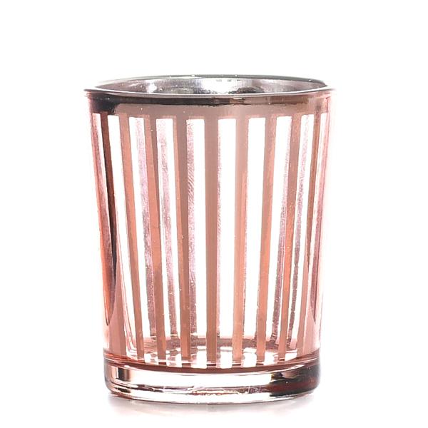 Metallic Rose Gold Stripe Votive Cup