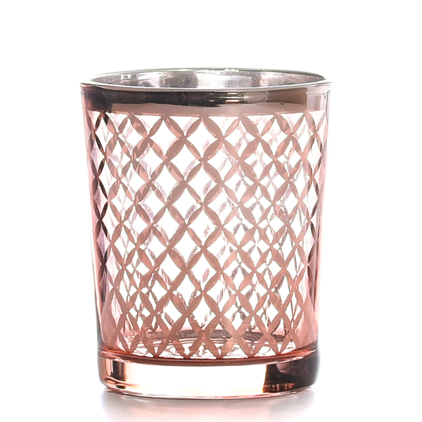 Metallic Rose Gold Lattice Votive Cup