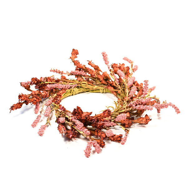 Rustic Pink Floral Candle Ring 6.5 Inch