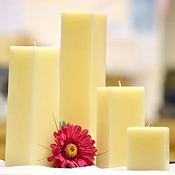 6 Inch Tall Ivory Square Pillar Candles
