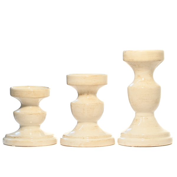 Weathered Ivory Candle Holder Set of 3