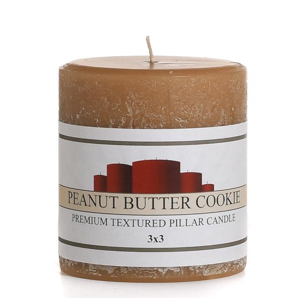 Rustic Peanut Butter Cookie 3 x 3 Pillar Candles
