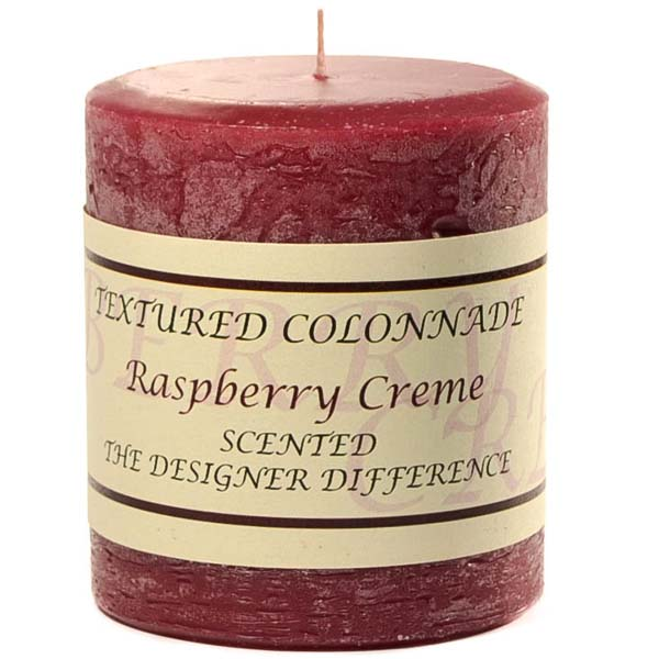Rustic Raspberry Cream 3 x 3 Pillar Candles