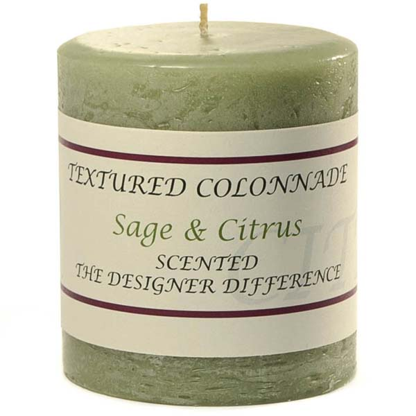 Rustic Sage and Citrus 3 x 3 Pillar Candles