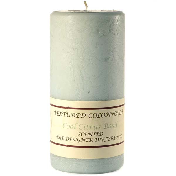 Textured Cool Citrus Basil 4 x 9 Pillar Candles