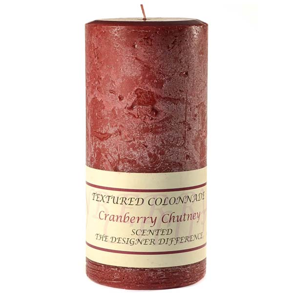 Textured Cranberry Chutney 3 x 6 Pillar Candles