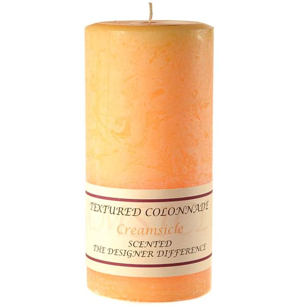 Textured Creamsicle 4 x 9 Pillar Candles