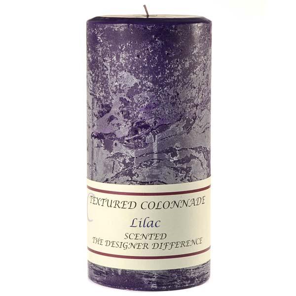Textured Lilac 4 x 9 Pillar Candles